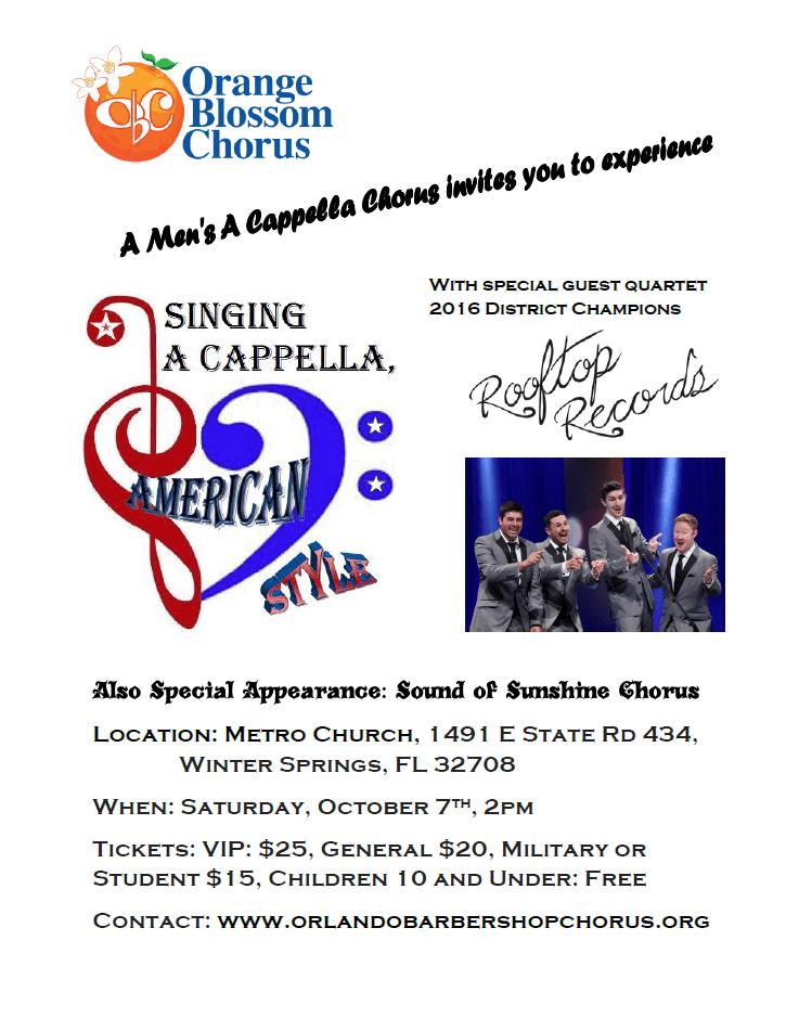 Orange Blossom Chorus Annual Show @ Metro Church | Winter Springs | Florida | United States