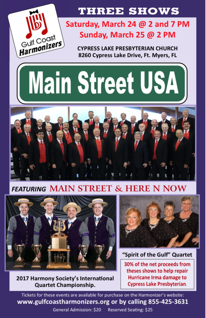 Gulf Coast Harmonizers - Main Street USA @ Cypress Lake Presbyterian Church | Fort Myers | Florida | United States