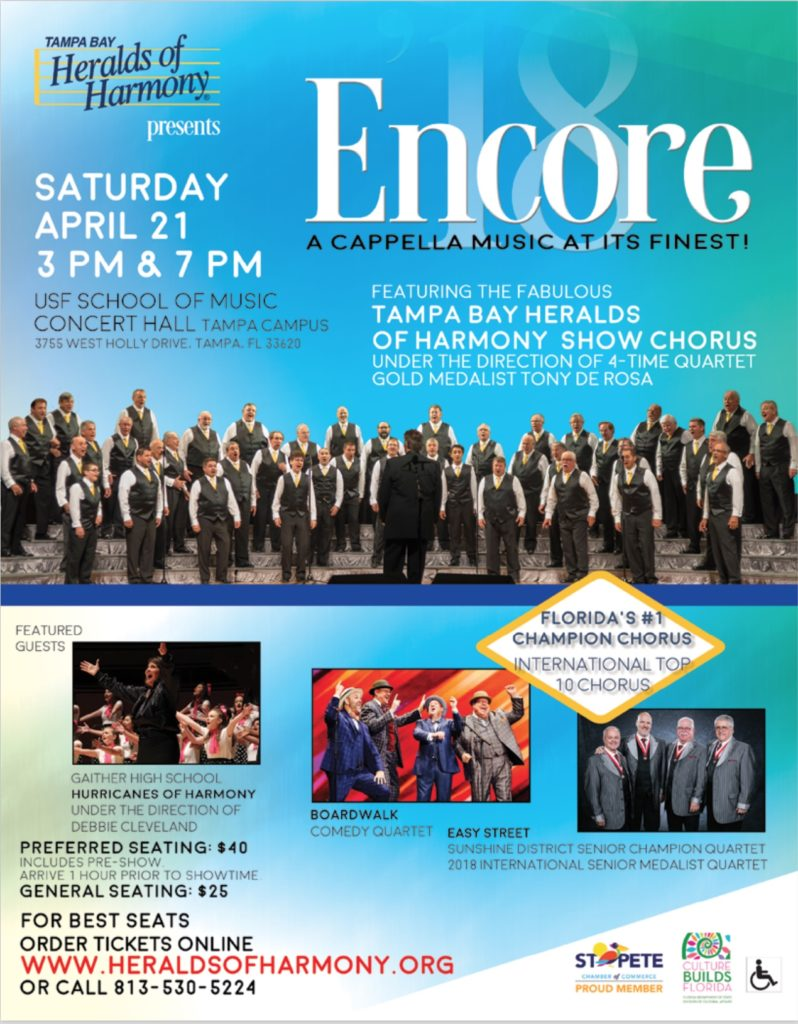 ENCORE! '18 - Tampa Heralds of Harmony @ USF School of Music Concert Hall | Tampa | Florida | United States