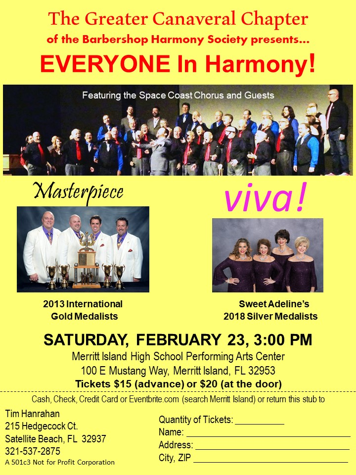 Everyone In HARMONY - Greater Canaveral Chapter Show @ Merritt Island High School Performing Arts Center