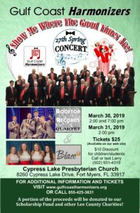 "Gulf Coast Harmonizers - present ""Show Me Where the Good Times Are"" - 2:00 pm @ Cypress Lake Presbyterian Church"