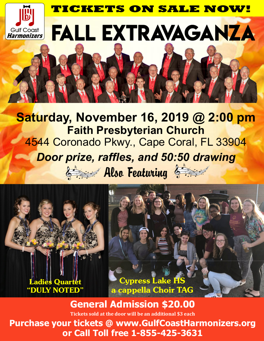 Gulf Coast Harmonizers Fall Extravaganza @ Faith Presbyterian Church