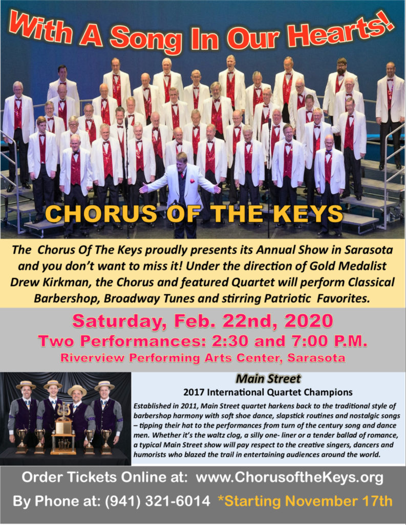 Sarasota Chapter Show - With a Song in Our Hearts @ Riverview Performing Arts Center